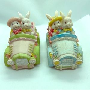 Hermitage Pottery Bunnies in Cars - set of 2